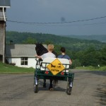 Donna and Emma in the cart