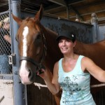 Jill with Wick - Lori working in adjacent stall