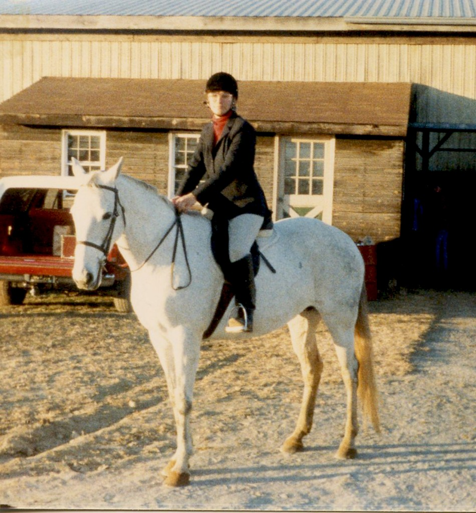 Anne riding Joy Nov 21 1987 at Hunter Jumper Show