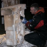 Roy Witten carving 'Santa Coming Down Chimney'