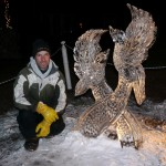 Neil Trimper and his ice sculpture 'Peace Doves'