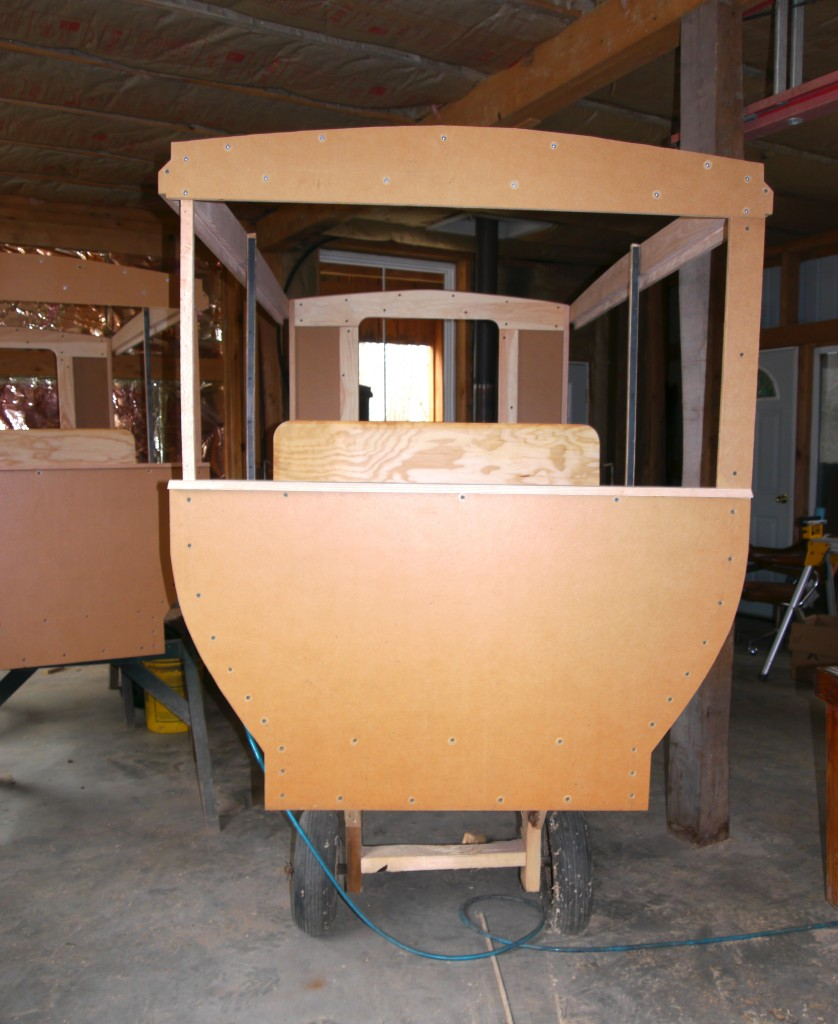 LeRaysville carriage under construction - Front view