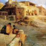 An Indian Pueblo, Laguna, New-Mexico painted by Thomas Moran