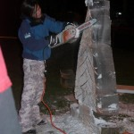 Lora Borer and her ice sculpture 'Christmas Tree'