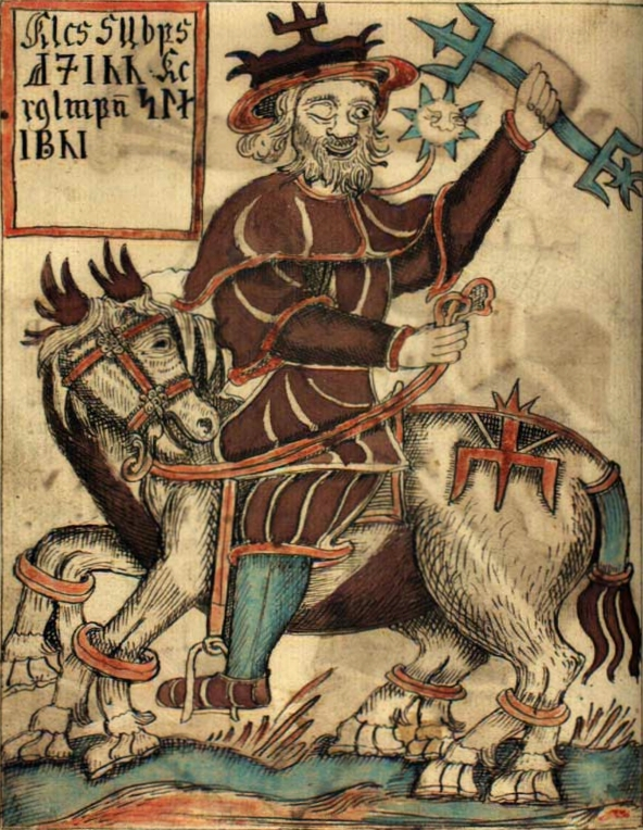 'Odin Rides the Eight-legged Horse Sleipnir' from an 18th century Icelandic manuscript now in the Danish Royal Library